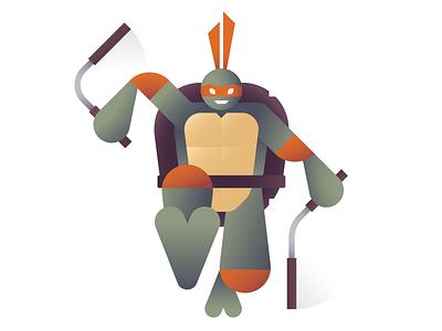 Party Dude michelangelo cowabunga mikey tmnt teenage mutant ninja turtles geometric ben stafford illustration