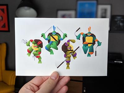 Heroes in a Half Shell - Print turtle heroes in a half shell michelangelo raphael donatello leonardo teenage mutant ninja turtles giclee print illustration tmnt
