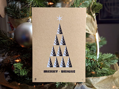 Merry + Bright parchment limited edition star christmas tree ben stafford hey monkey screenprint merry christmas card bright merry art print