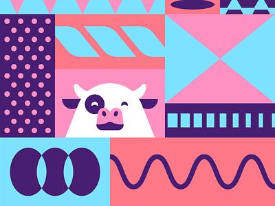 Organizing Chaos mascot illustration geometric pattern cow focus lab branding remember organized app to-do