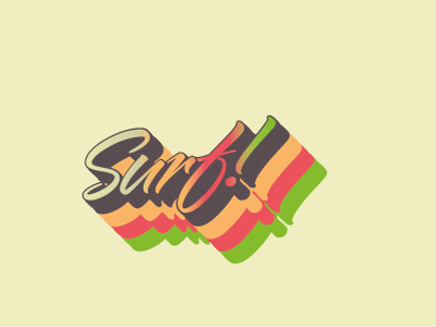 Surf retro graffiti art gradient illustration design typography