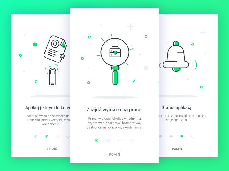 Kiwi Jobs onboarding screens by Gosia Filipek