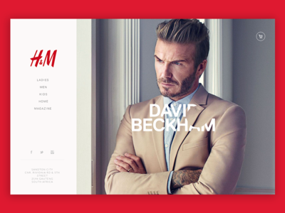 H&M / David Beckham user interface ui design shop landing page e-commerce store fashion design hm david beckham