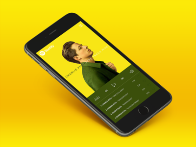 Album Preview charlie puth mobile app music player color yellow design ux ui spotify music