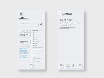 Neumorphism - Notes app Ui reminder app task app task manager notes app website concept mobile app design web design trend app design uiux neumorphism ui neumorphism cleanui dailyui minimal ux app ios