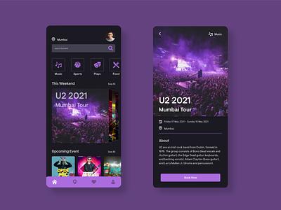 Event App Ui ticket app event ios music application booking gradient uiux design dailyui app user experience minimal ux ui event app