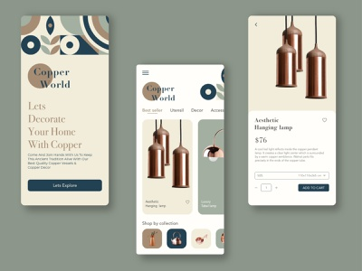 eCommerce store app  ui - Home decor application ui app design ios userinterface decoration uiux gradient cleanui design dailyui app ui minimal ux online shop ecommerce shop ecommerce app
