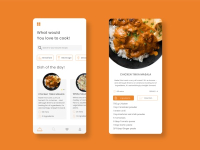 Cooking Recipe App Ui cookie app design application recipes food app ui cooking gradient cleanui design dailyui app ui minimal ux