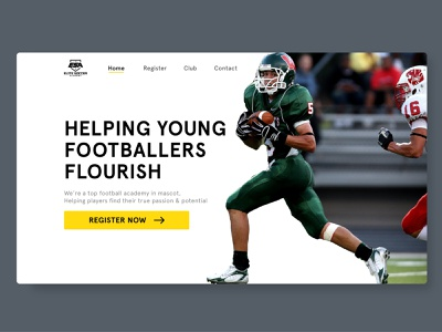 Football Academy Ui flat design football website design webdesign uiux website gradient app cleanui design dailyui ui minimal ux