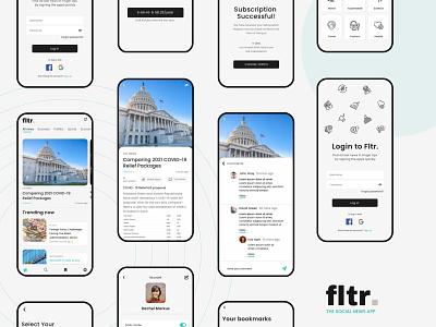 Social News App Ui Design newsfeed feed walkthrough screen login screen news app appdesign social news ios application uiux gradient app cleanui design dailyui ui minimal ux