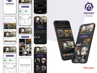 Tattoo App - UI Design tattoo mobile application mobile application uiux gradient app cleanui design dailyui ui minimal ux