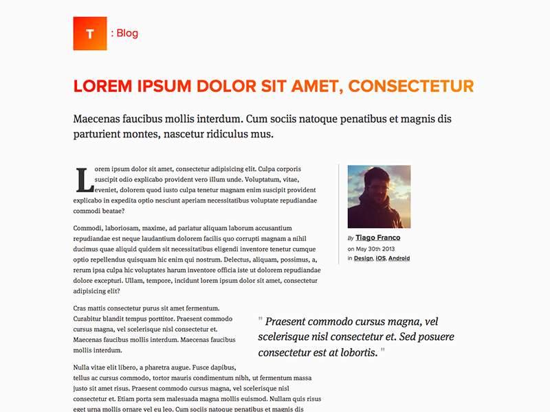 Article Layout Page html5 css3 article web page layout typography type