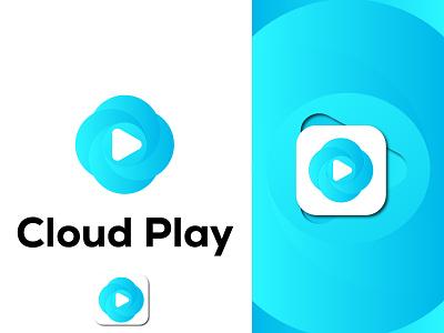 Cloud  Play Music Icon unique design simple icon app icon music icon play icon icon cloud typogaphy design brand identity logo design inetial letter logo custom logo branding logo