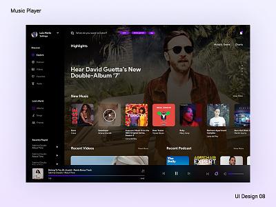 Streaming Platform streaming app podcast player ui design illustration brand ui darkui musicplayer music app xddailychallenge uidesign
