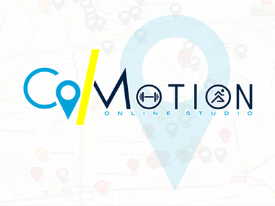 Logo for CoMotion Online Fitness Studio markappeal logo marketing branding design