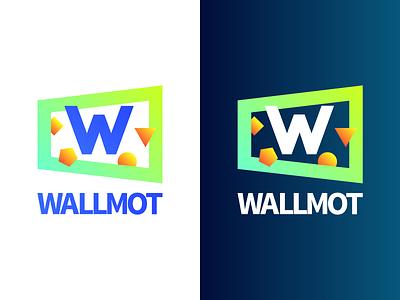 Wallmot Logo dark white gradient orange yellow green blue wall motivational wallmot logo