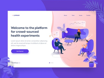 Landing page concept page experiment healthcare crowd-sourced design site web characters vector illustration