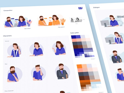 Characters page experiment healthcare crowd-sourced design site web characters vector illustration