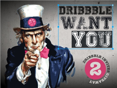 Dribbble want you! invite draft uncle sam