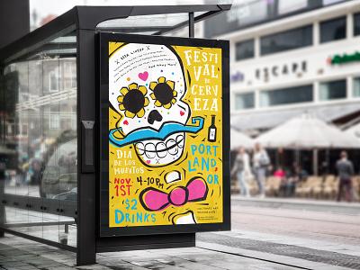 Festival De Cerveza hand-drawn type typography design poster posters beer art dayofthedead posterdesigner posterdesign