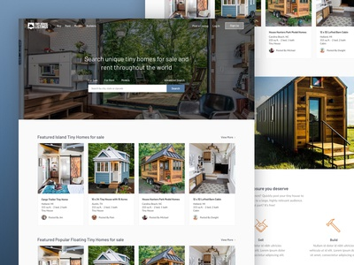Tiny House Listings website property web-design search landing-page homepage house tiny-house