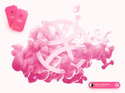 Dribbble Invite tickets illustrator card pink gradients illustration design 2invites smoke slide dribbble invites invite dribbble