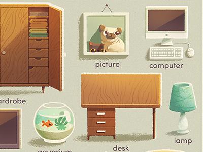 First English words \\ Educational book book children book pug cat illustration desk computer lamp wardrobe aquarium