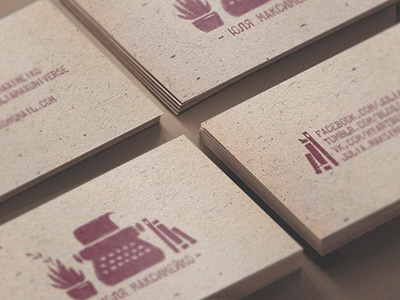 Business card for writer business card illustration typewriter plant card businesscard