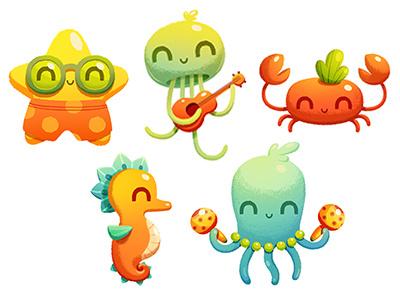 Sea band illustration characters jellyfish starfish octopus seahorse crab ukulele character design