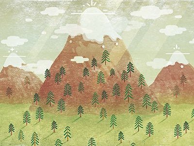 Mountains illustration nature mountains forest clouds fur tree