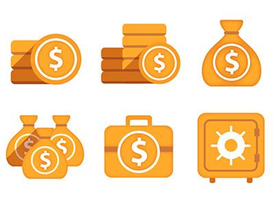 Money icons icon money coins coin safe case icon design money bag
