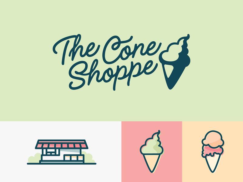 The Cone Shoppe ice dessert branding icon michigan brand logo soft serve building illustration summer cone shoppe icecream ice cream logo ice cream cone ice cream