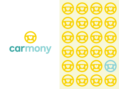 find carmony heart love dating matchmaker match harmony search engine wheel vehicle car branding logo