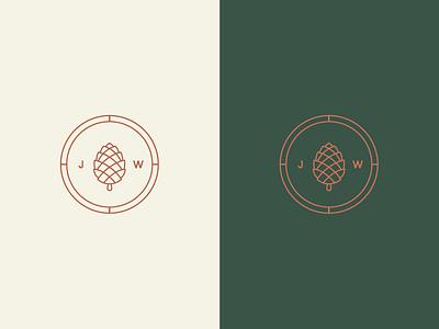 Wedding Icon illustration branding compass plant midwest woodsy logo symbol icon wedding pine cone pinecone