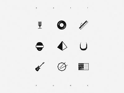 Tribute to Daft Punk  daft iconic white sample punk tribute simple black helmet music guitar mic drums vinyl pyramid