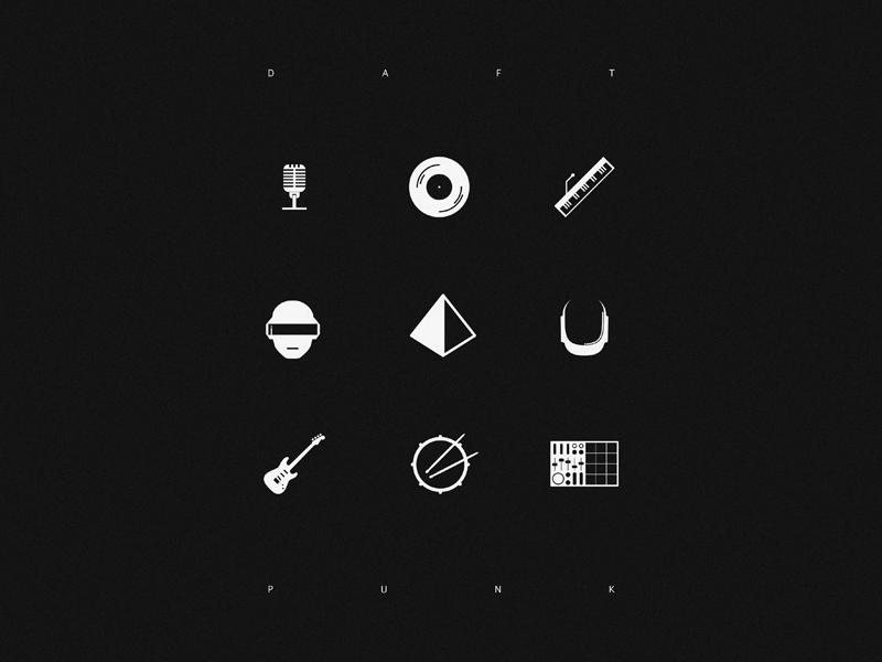 Tribute to Daft Punk, B&W. black pyramid tools sample icon punk drums music daft mic iconic white vocoder piano helmet guitar