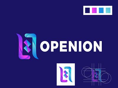 MODERN LOGO DESIGN (OPENION) project green blou openion logo design modern colorful logo illustration social media design branding graphic design modern logo design