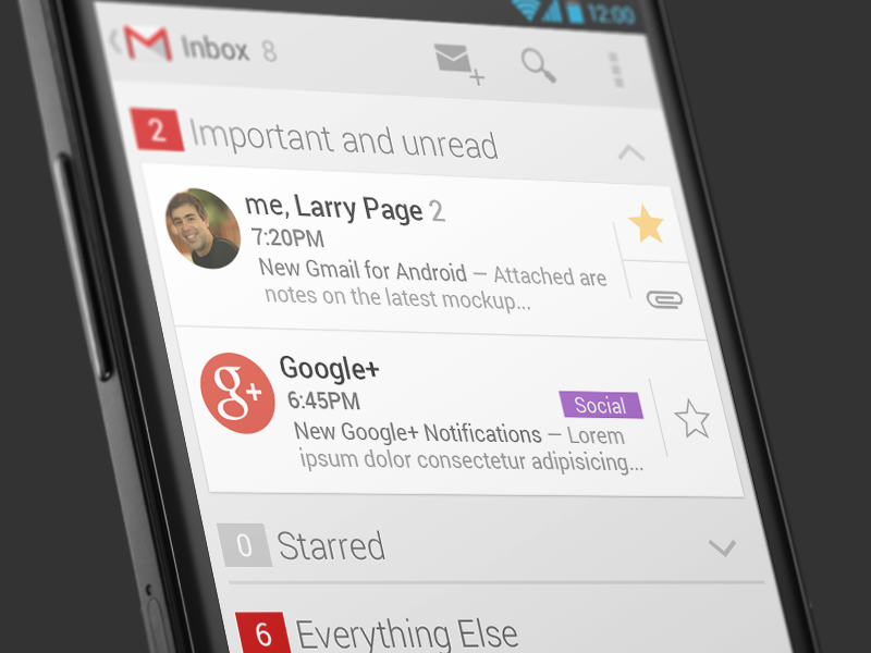 Gmail 5 for Android Concept android mockup redesign gmail