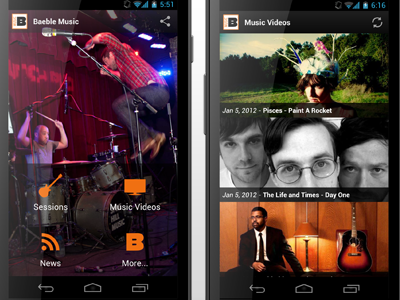 Baeble Music for Android android app music video media dashboard