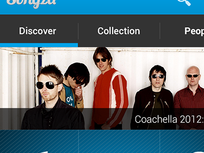 Songza Re-imagined - Main android dashboard action bar tabs music