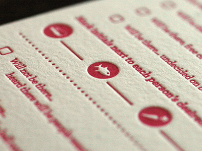 RSVP Card letterpress wedding invite