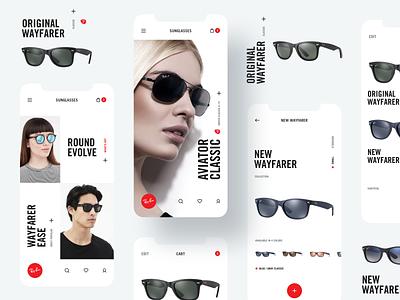 Ray-Ban iPhone App UI UX Design concept rayban mobile ui mobile app typography web design mobile design sunglasses iphone app white red web shop design ux ui black clean minimal