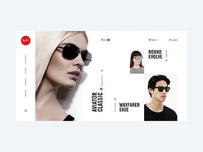 Ray-Ban online shop concept clean minimal emarket shop sunglasses rayban fullscreen concept web design