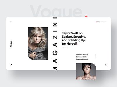 Vogue. Magazine clean black red dark light magazine vogue mobile desktop typography minimal flat design ux ui website web