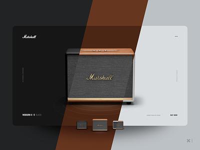 Marshall Woburn II Speakers grey buy emarket shop woburn bluetooth sound branding app web ux ui design minimal clean white brown black speakers marshall