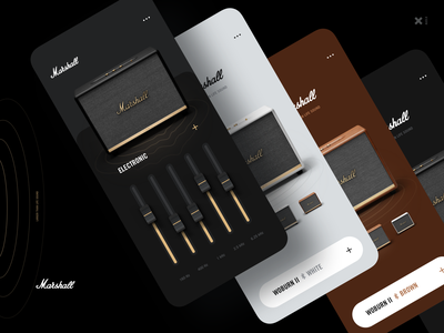 Marshall Woburn II Speakers iPhone App buy woburn application white brown quality sound speakers marshall clean minimal emarket shop mobile ux ui design black app design app
