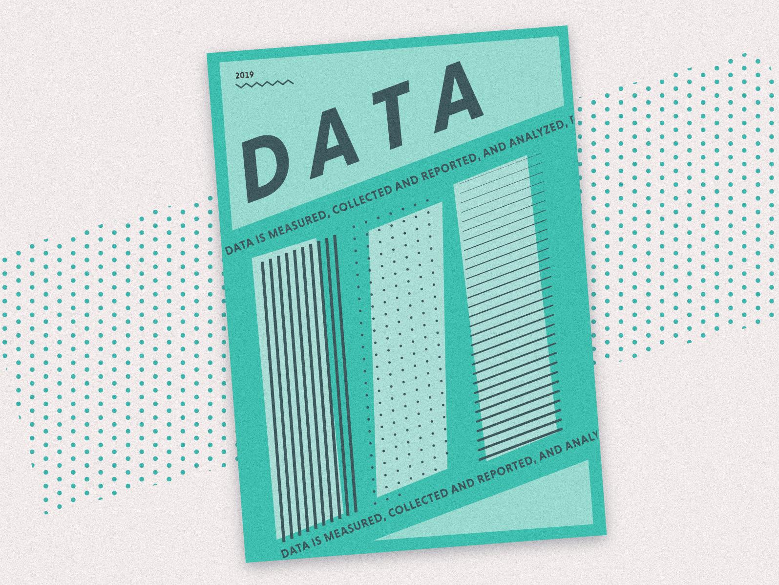 Data! geometric data green gradient texture patterns computer abstract poster magazine ui illustration