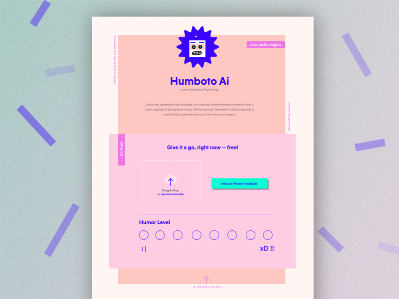 Humberto Image Analyzer file upload upload modal geometric homepage landing page ui ui design illustration