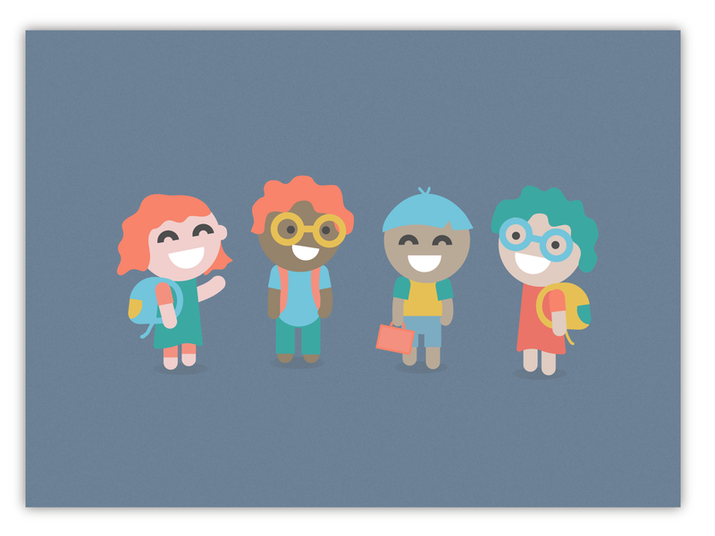 Little Kids ui design geometric faces people kids illustration