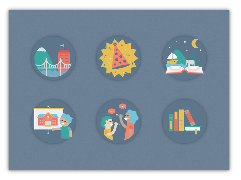 Activity Icons city book people faces ui design blue flat illustration icon set icons